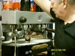 Alan Preston operating Gaggia 2 Group Lever Handle Espresso Machine